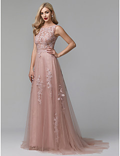 cheap Evening Dresses-A-Line Jewel Neck Sweep / Brush Train Lace / Tulle Formal Evening Dress with Appliques / Sash / Ribbon by TS Couture®