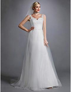 billiga Brudklänningar-A-linje Hjärtformad urringning Svepsläp Spets / Tyll Bröllopsklänningar tillverkade med Applikationsbroderi / Spets av LAN TING BRIDE®