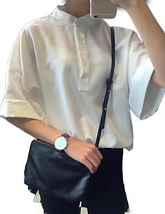 billige Overdele til damer-Høj krave Dame - Ensfarvet I-byen-tøj Skjorte