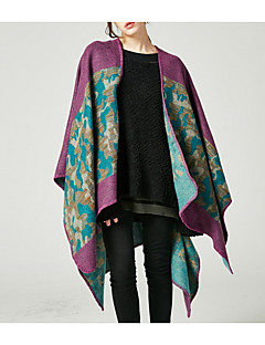 baratos Cachecol Feminino-Mulheres Retângular - Com Transparência Sólido / Floral / Estampa Colorida