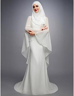 billiga Brudklänningar-A-linje Prydd med juveler Hovsläp Chiffong / Spets / Satäng Bröllopsklänningar tillverkade med av LAN TING BRIDE®