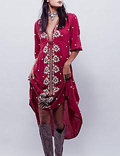 Χαμηλού Κόστους Φορέματα Boho-Γυναικεία Φαρδιά Swing Φόρεμα Μίντι Βαθύ V