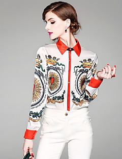 Χαμηλού Κόστους Μπλούζες-Γυναικεία Πουκάμισο Ενεργό / Κομψό στυλ street Γεωμετρικό Στάμπα