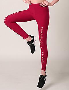 billiga Träning-, jogging- och yogakläder-Dam Strappy Yoga byxor / Yogashorts - Rosa, Khaki grön, Vinröd sporter Cykling Tights / Leggings Sportkläder Snabb tork, Mateial som andas Elastisk