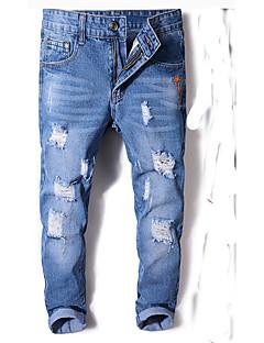 billige Herrebukser og -shorts-Herre Bomull Tynn Jeans Bukser Ensfarget