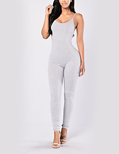 billige Jumpsuits og sparkebukser til damer-kvinners bomull jumpsuit - solid farget high waist pencil stropp