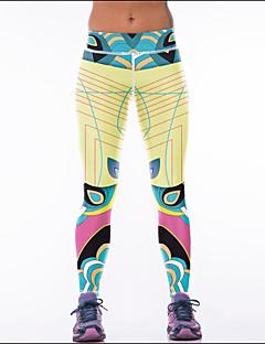billiga Träning-, jogging- och yogakläder-Dam Yoga byxor - Gul sporter Bohemisk Cykling Tights / Leggings Sportkläder Mateial som andas Elastisk