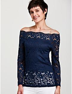billige Skjorte-Bateau-hals Dame Plusstørrelser Skjorte