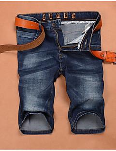billige Herrebukser og -shorts-Herre Tynn Jeans / Shorts Bukser Ensfarget