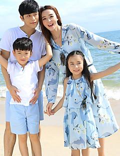 billige Sett med familieklær-Barn Familie Look Blomstret Kortermet Tøysett