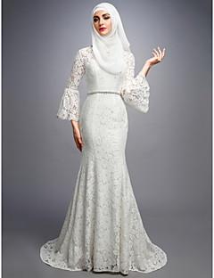 billiga Brudklänningar-Trumpet / sjöjungfru V-hals Svepsläp Spets Bröllopsklänningar tillverkade med av LAN TING BRIDE®