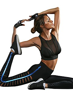 billiga Träning-, jogging- och yogakläder-Dam Utklippt Yoga byxor - Svart sporter Rand Cykling Tights / Leggings Dans, Löpning, Fitness Sportkläder Andningsfunktion, Anatomisk design, Mjuk Elastisk