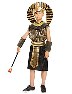 billige Halloweenkostymer-Farao Kostume Gutt Barne Halloween Jul Halloween Karneval Festival / høytid Drakter Svart Ensfarget Halloween