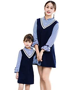 billige Sett med familieklær-Mamma og meg Grunnleggende Stripet Langermet Kjole