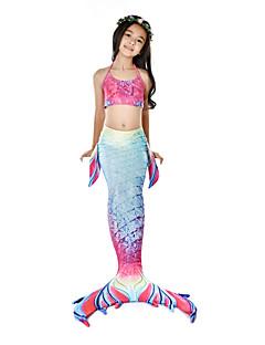 billige Barnekostymer-The Little Mermaid Badetøy Bikini Kostume Jente Barne Vintage Halloween Karneval Festival / høytid Drakter Rosa Havfrue