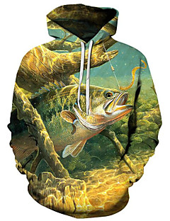 cheap Men's Hoodies & Sweatshirts-Men's Active / Exaggerated Hoodie - 3D / Cartoon, Print