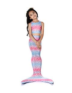 billige Halloweenkostymer-The Little Mermaid Badetøy / Bikini / Kostume Jente Halloween / Karneval Festival / høytid Halloween-kostymer Rosa Vintage Havfrue og Trompet Kjole Slip / Bikini