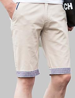 billige Herrebukser og -shorts-Herre Bomull Tynn Chinos / Shorts Bukser Ensfarget / Fargeblokk / Rutet / Strand