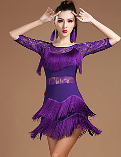 baratos Roupas de Dança Latina-Dança Latina Vestidos Mulheres Espetáculo Modal Renda / Mocassim Meia Manga Natural Vestido