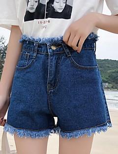 billige Kvinde Underdele-Dame Bomuld Løstsiddende Shorts Bukser Ensfarvet Høj Talje