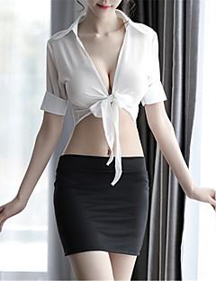 billige Nattøy til damer-Dame Uniformer og kinesiske kjoler / Dress Nattøy - Ensfarget, Uthult