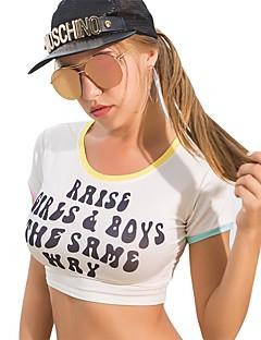 baratos Tops-Mulheres Camiseta Activo / Básico Costas Nadador, Sólido / Letra
