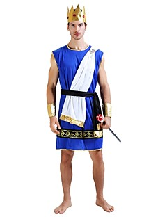 cheap Ethnic & Cultural Costumes-Egyptian Costume Costume Men's Adults Halloween Halloween Carnival Masquerade Festival / Holiday Polyster Outfits Ink Blue Solid Colored Halloween