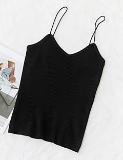 baratos Suéteres de Mulher-Mulheres Para Noite Sem Manga Delgado Pulôver - Sólido / Com Alças