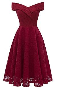 baratos Vestidos de Festa-Mulheres Vintage Bainha Vestido - Renda, Sólido Altura dos Joelhos
