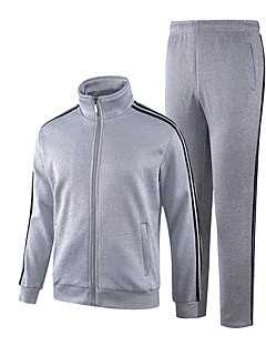 baratos Abrigos e Moletons Masculinos-Homens Delgado Manga Longa Moletom / activewear Set Sólido / Listrado Colarinho Chinês