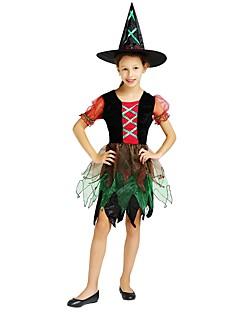 billige Barnekostymer-Trollmann / heks Kostume Jente Tenåring Halloween Halloween Karneval Barnas Dag Festival / høytid Drakter Regnbue Ensfarget Halloween