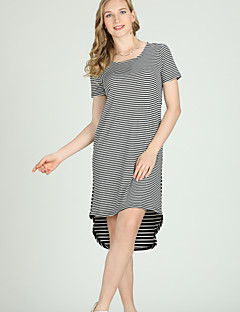 billige Damekjoler-Dame Grunnleggende A-linje / Skjede / Skjorte Kjole - Stripet Asymmetrisk