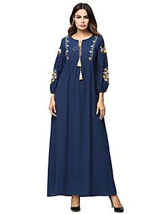 billige Nytt i kjoler-Dame Grunnleggende Puffermer Abaya Kjole - Geometrisk, Broderi Maksi