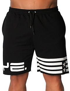 billige Herrebukser og -shorts-Herre Aktiv / Grunnleggende Bomull Løstsittende Shorts Bukser - Stripet Svart / Sport / Sommer