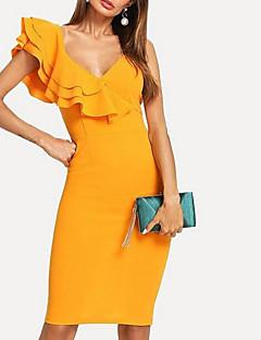 Χαμηλού Κόστους Off Shoulder-Γυναικεία Παντελόνι - Μονόχρωμο Ψηλή Μέση Κίτρινο / Βαθύ V / Sexy