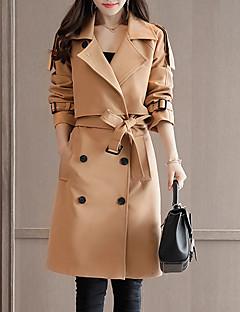billige Kvinder Overtøj-Dame Ensfarvet Basale Trenchcoat