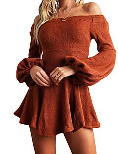 Χαμηλού Κόστους Ώμοι Έξω-Γυναικεία Flare μανίκι Θήκη Φόρεμα - Μονόχρωμο Μίνι