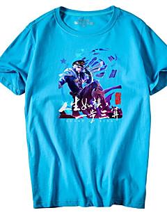 billige Herre Toppe-Rund hals Herre - Geometrisk Bomuld Plusstørrelser T-shirt / Kortærmet