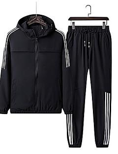 baratos Abrigos e Moletons Masculinos-Homens Moletom / activewear Set - Estampado, Sólido / Listrado