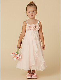 tanie Sukienki dla dziewczynek z kwiatami-Ołówkowa / Kolumnowa Lekko nad kolana Sukienka dla dziewczynki z kwiatami - Szyfon Bez rękawów Pasy z Kwiat przez LAN TING BRIDE®