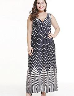 Χαμηλού Κόστους Φορέματα Μεγάλα Μεγέθη-Γυναικεία Σε γραμμή Α Φόρεμα - Γεωμετρικό Μακρύ