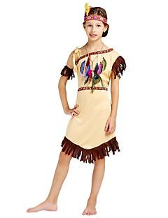billige Halloweenkostymer-Primitiv Kostume Jente Barne Halloween Halloween Karneval Barnas Dag Festival / høytid Drakter Beige Ensfarget Halloween