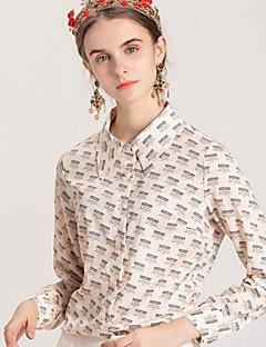 billige Dametopper-Skjorte Dame - Blomstret / Bokstaver Aktiv / Grunnleggende