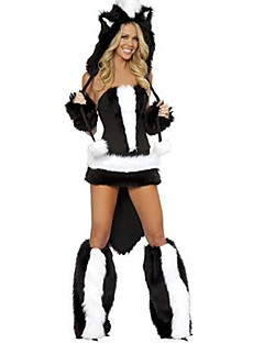 billige Halloweenkostymer-Dyremønster Cosplay Kostumer Hodeplagg Kostume Dame Jente Dyredesign Halloween Halloween Karneval Festival / høytid Drakter Svart Lapper
