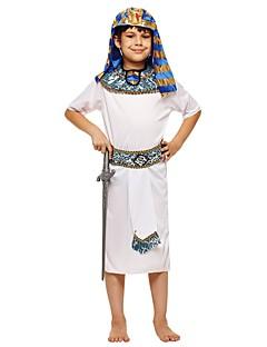 billige Halloweenkostymer-Farao Kostume Gutt Barne Halloween Halloween Karneval Barnas Dag Festival / høytid Halloween-kostymer Drakter Hvit Ensfarget Halloween