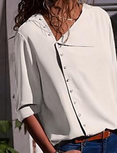 Χαμηλού Κόστους Γυναικείες Μπλούζες-Γυναικεία Πουκάμισο Βασικό Μονόχρωμο