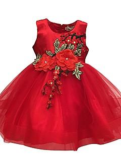 abordables Envoyés En 24 Heures-bébé Fille Rétro Sortie / Anniversaire Fleur Sans Manches Normal Mi-long Coton / Polyester Robe Noir