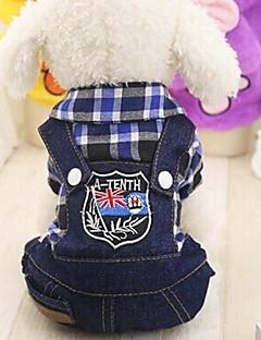 billiga Hundkläder-Gnagare / Hund / Katt Jumpsuits Hundkläder Prickig & Rutig / Jeans Fuchsia / Röd / Grön Cotton Kostym För husdjur Dam Sport och utomhus / Rutig