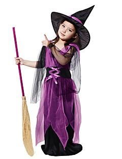 billige Barnekostymer-Trollmann / heks Kostume Jente Barne Halloween Halloween Karneval Barnas Dag Festival / høytid Polyester Drakter Lilla Ensfarget Halloween