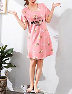 baratos Pijamas Femininos-Mulheres Decote Redondo Conjunto Pijamas Letra